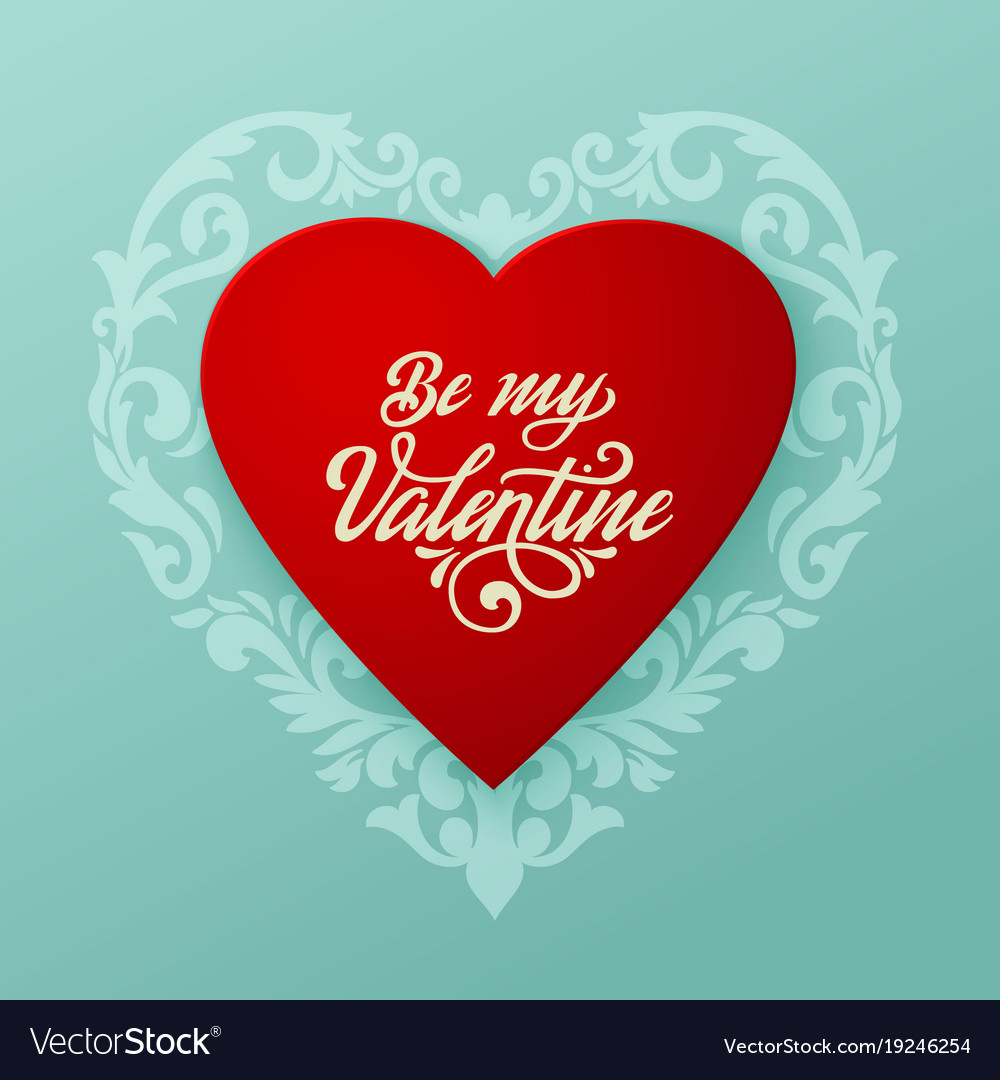 Happy Valentines Day Card Big Red Heart Royalty Free Vector