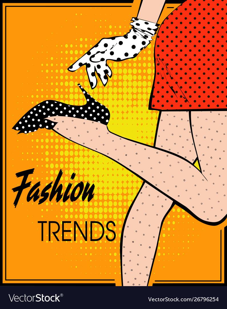 In style pop art female legs in polka-dot