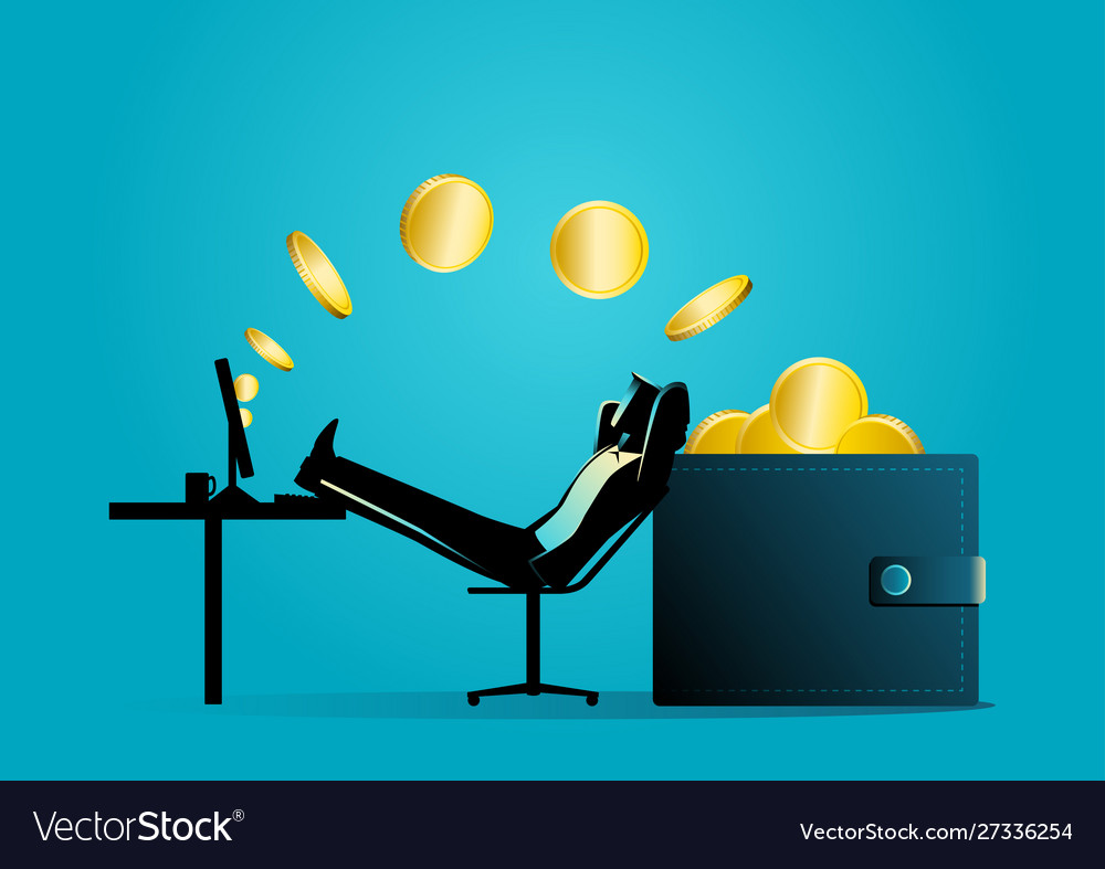 Man relaxing while receiving money transfer from