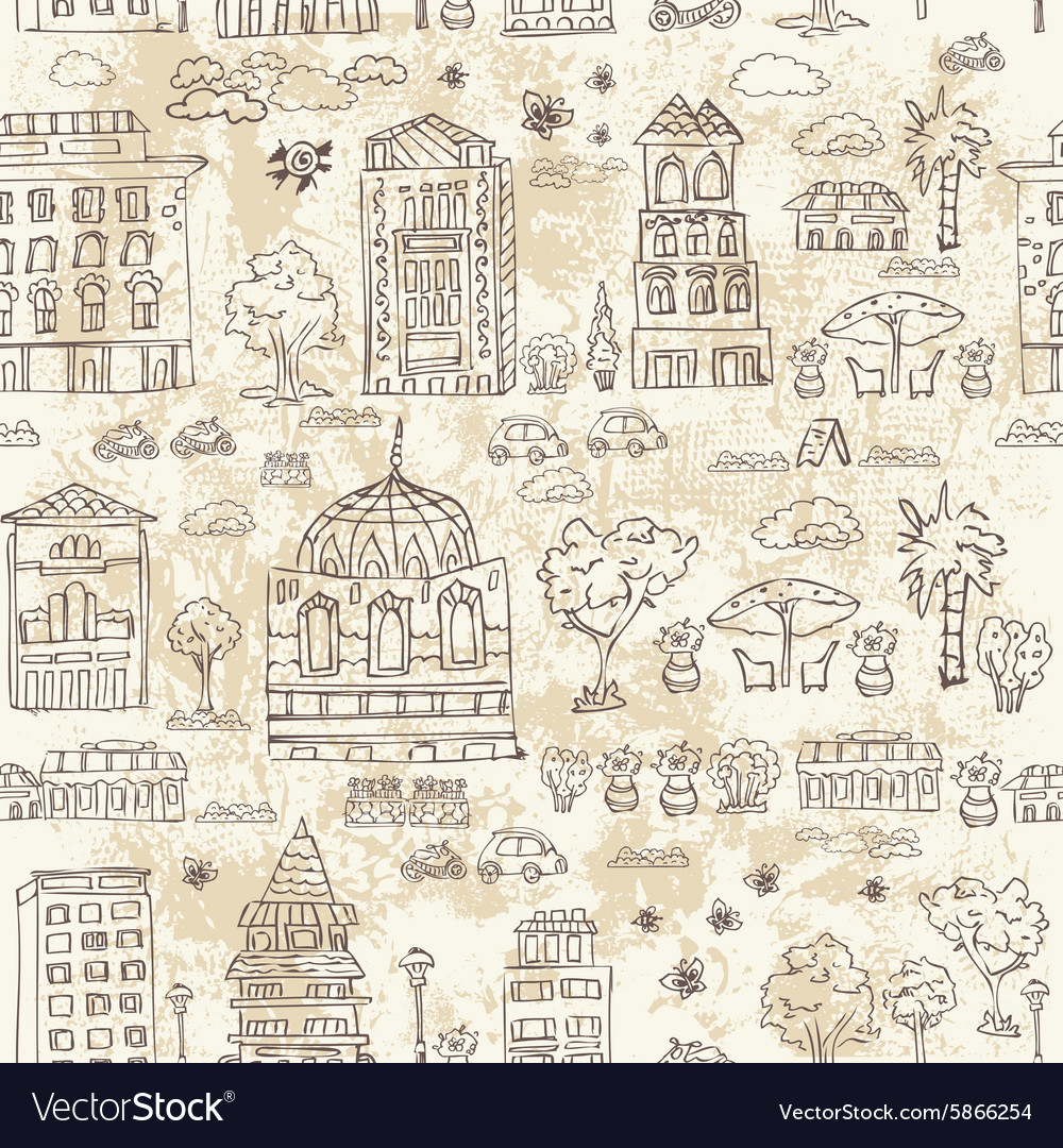 Seamless background of city doodle grunge