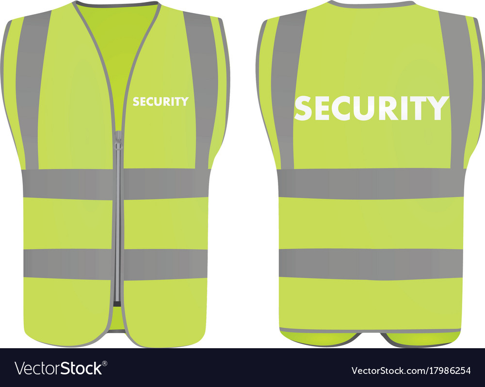 Security safety vest Royalty Free Vector Image 25ae99c6034