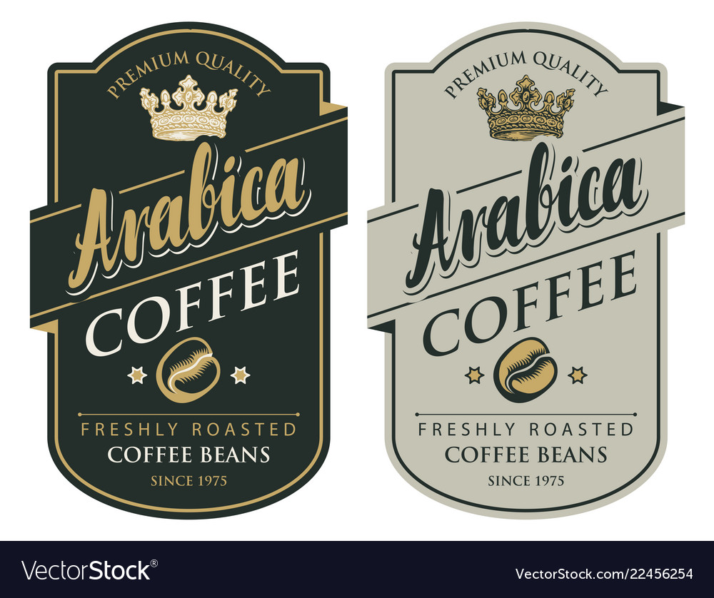 Two labels for coffee beans in retro style