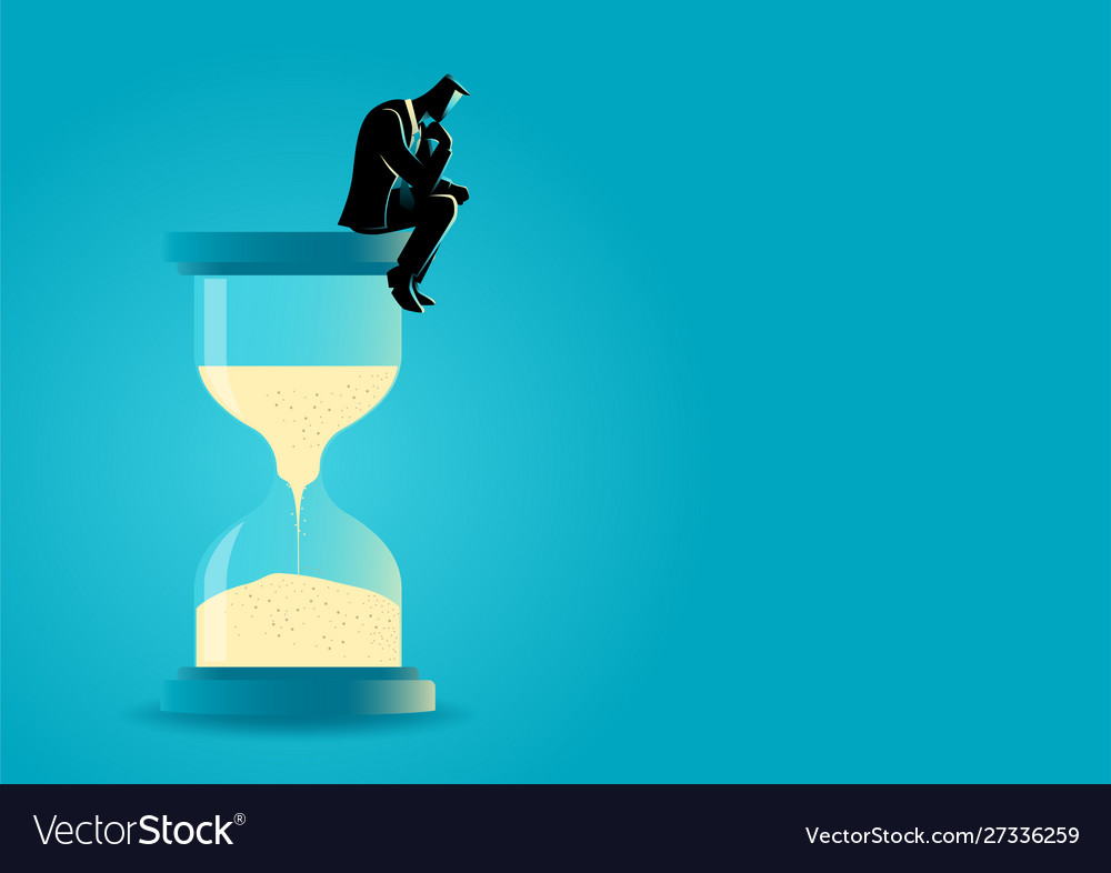Businessman sitting and thinking on hourglass