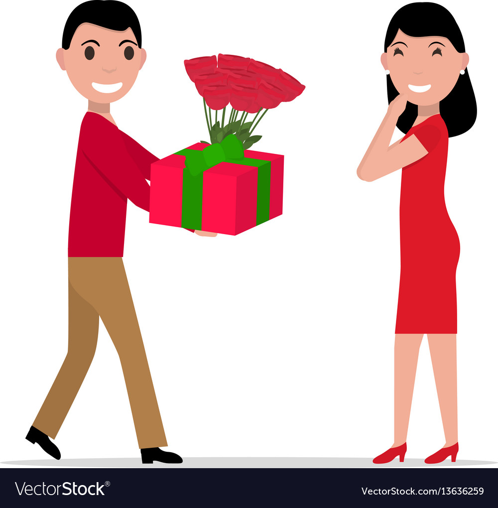 Cartoon man gives gift and flowers to woman