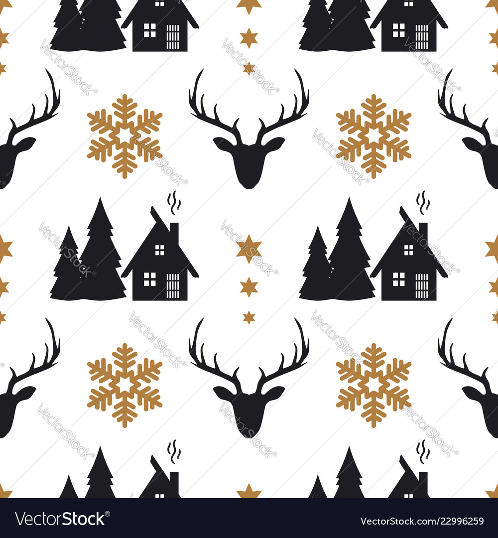 Christmas seamless pattern with deers houses fir