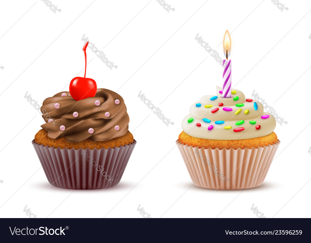 Cupcake realistic set