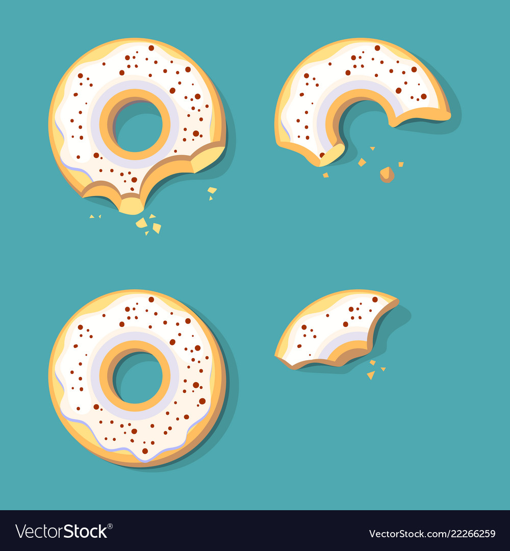 Eating donuts glazed sweet fast food ring cake