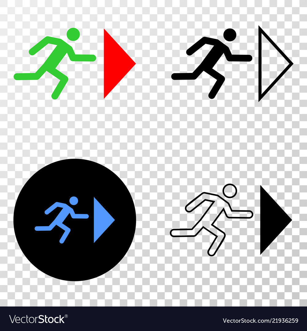 Exit person eps icon with contour version