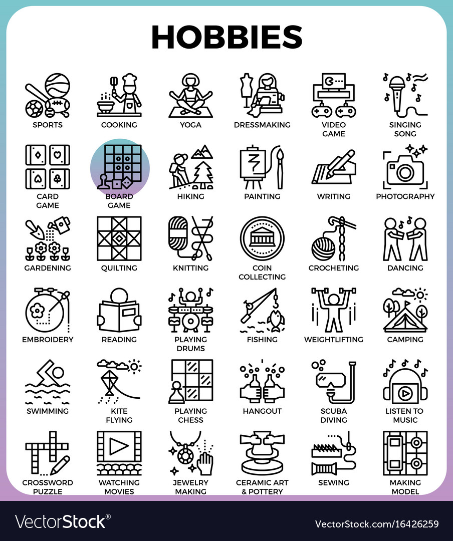 hobbies and interest detailed line icons vector image