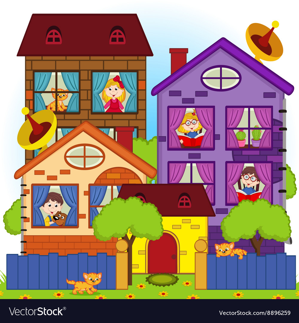 Home with children in windows