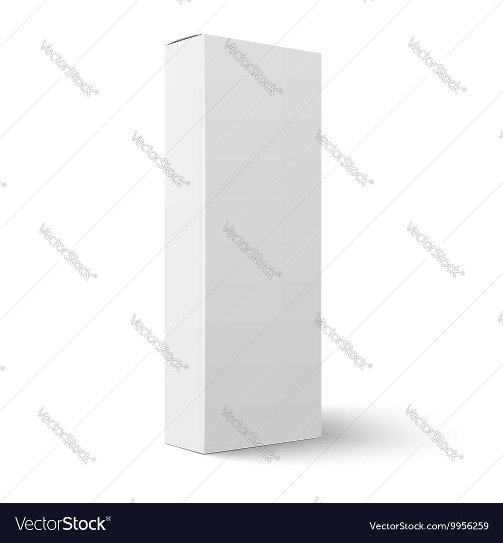 Long vertical blank cardboard box template vector image