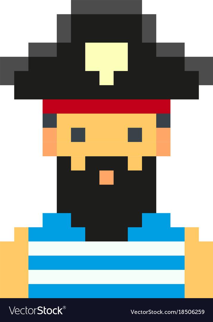 Pixel art pirates art cartoon retro game style set