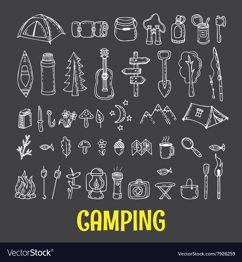 Set of hand drawn camping and hiking equipment