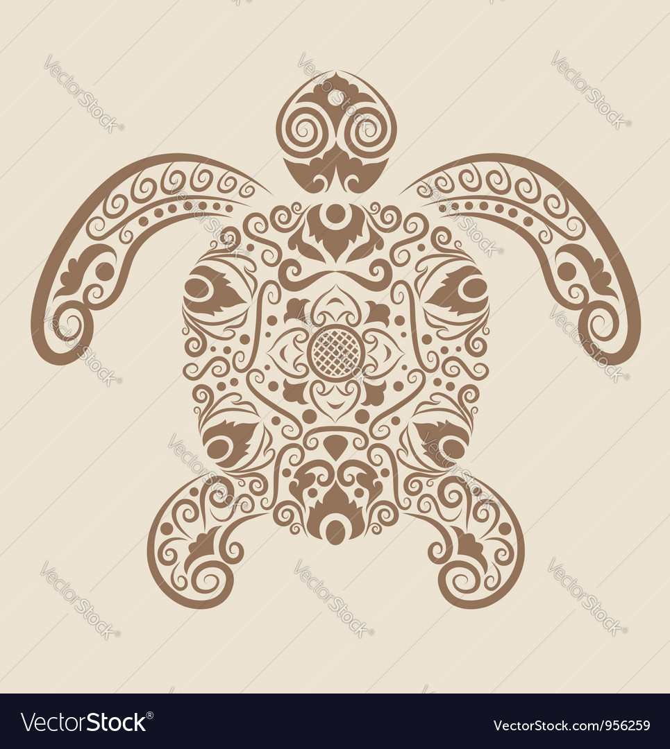 Turtle ornament vector image
