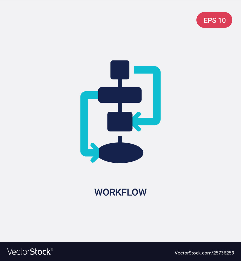 Two color workflow icon from creative pocess