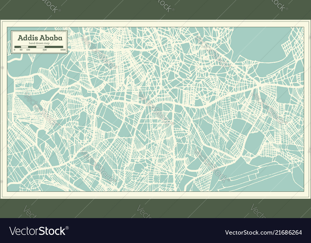 Addis ababa ethiopia city map in retro style Vector Image