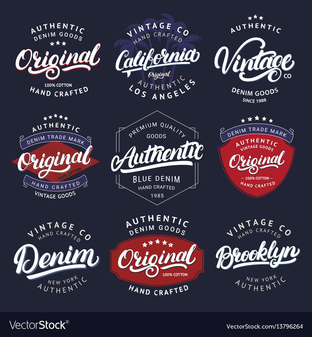 Big set of california vintage brooklyn denim vector image