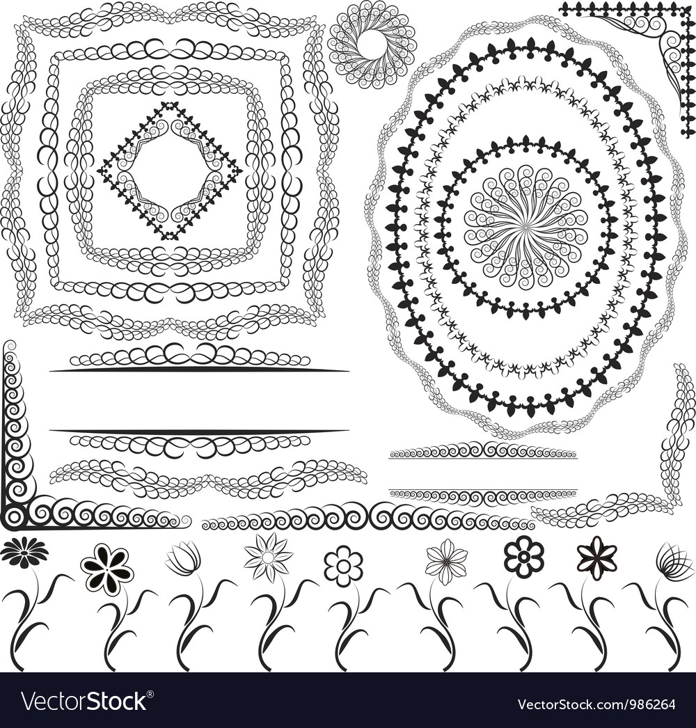 Borders frames and ornaments Royalty Free Vector Image