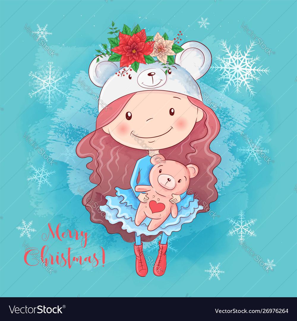 Cute christmas card with cartoon girl with teddy