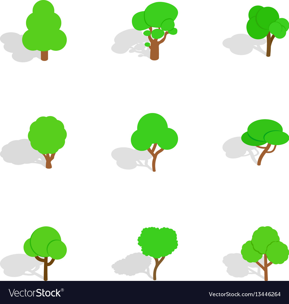 Different trees icons isometric 3d style