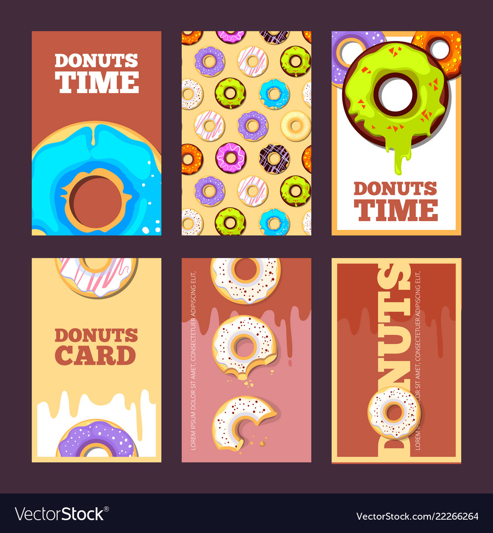 Donuts cards glazed sweet hot ring holiday cakes