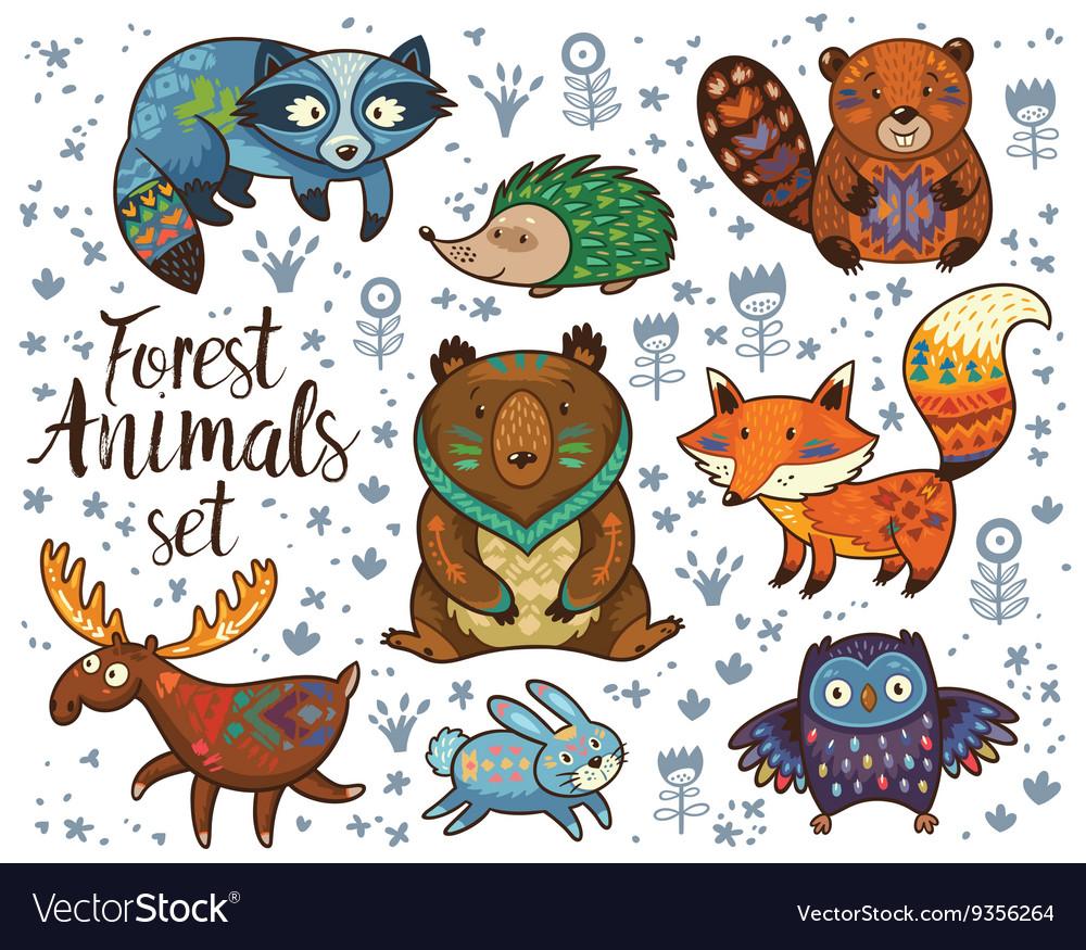 Forest tribal animals set