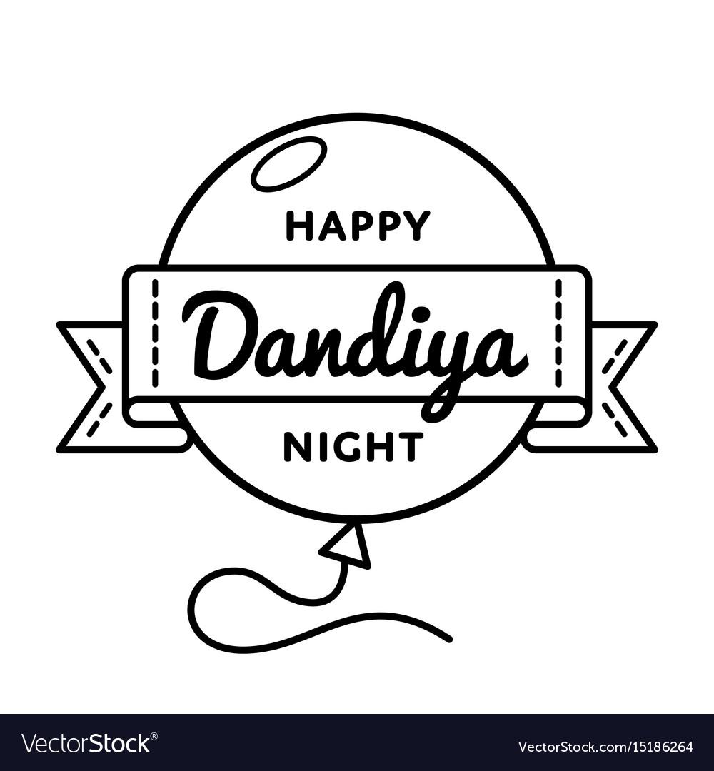 Happy dandiya night greeting emblem vector image