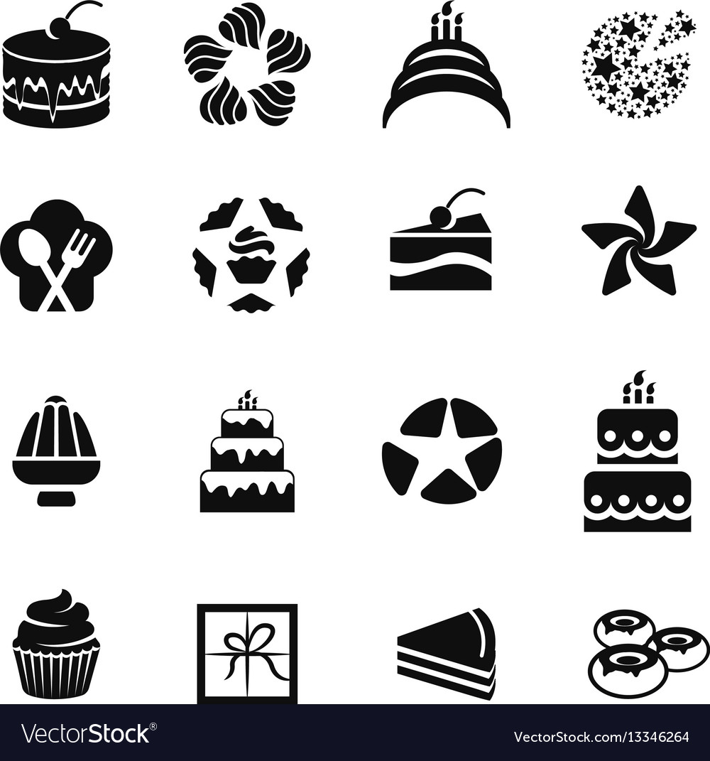Isolated black color icons cakescupcakesdonuts