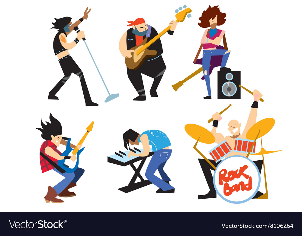 Musicians rock group isolated on white background vector image