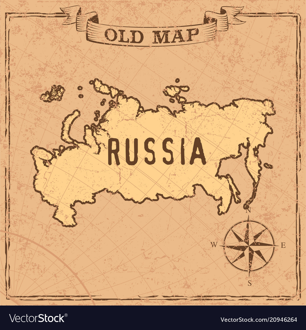 Old style russia map Royalty Free Vector Image
