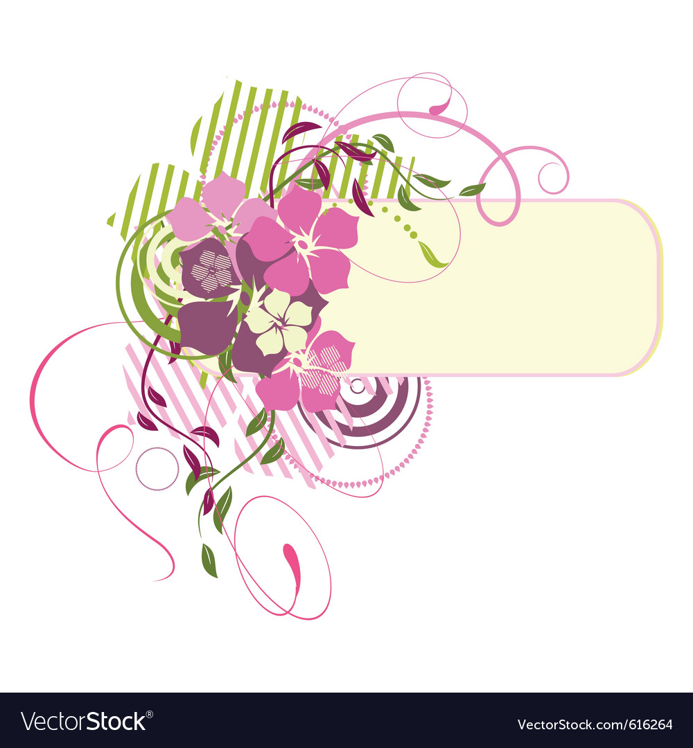 Pink banner with flowers