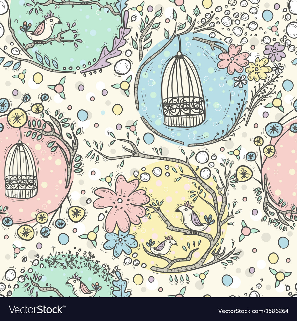 Seamless pattern with birdcages flowers and birds