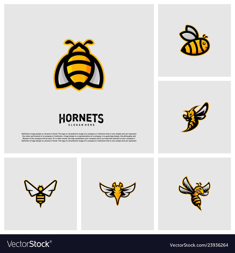 Set of bee logo design hornets logo template