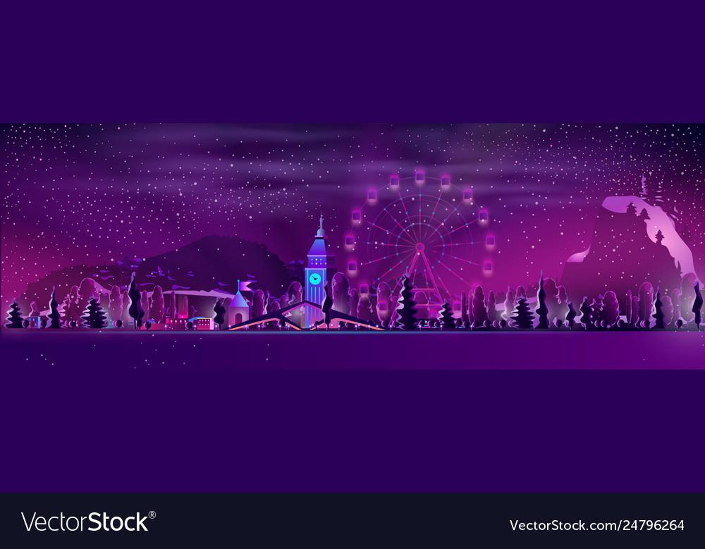 Winter resort town at night cartoon