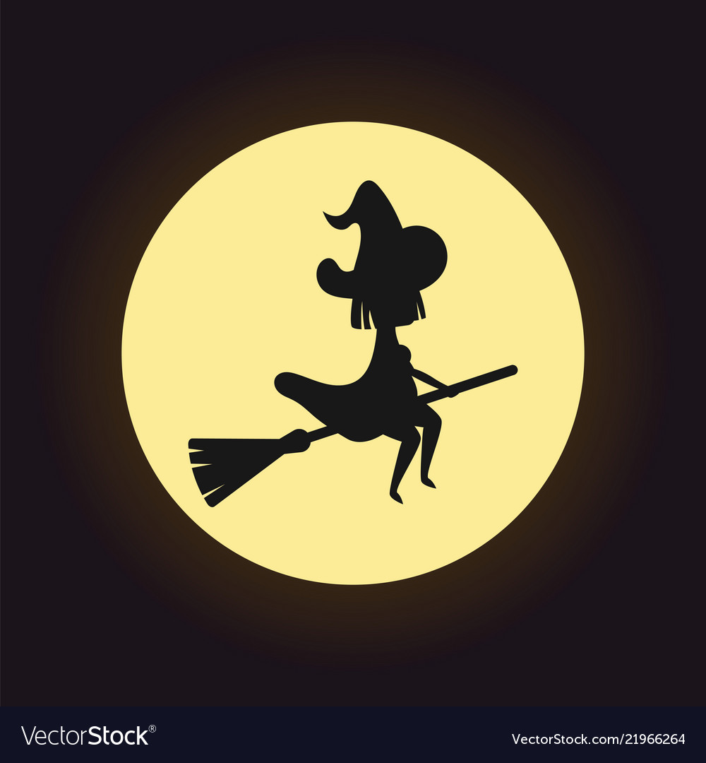 Witch silhouette flying on broom on night moon