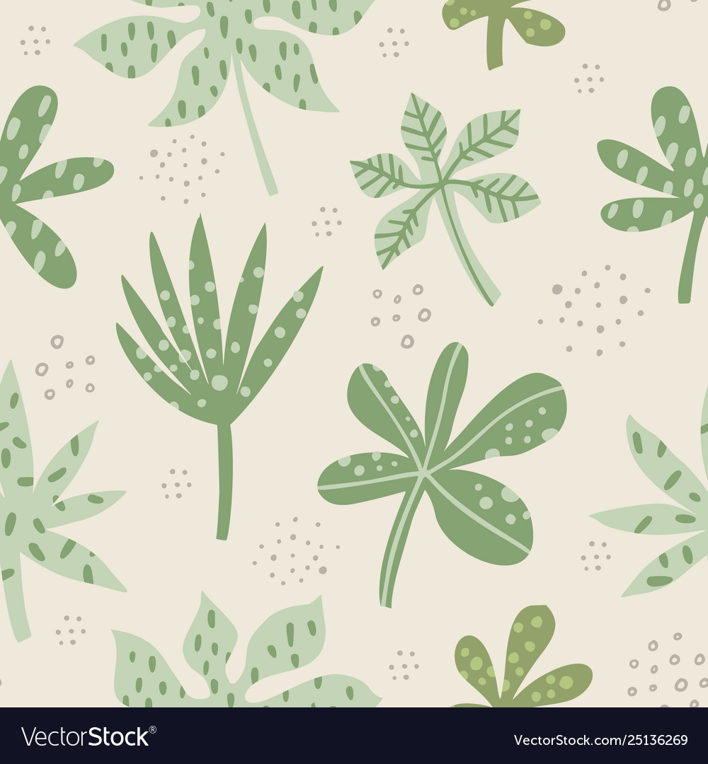 Aralia and palm leaves hand drawn seamless pattern
