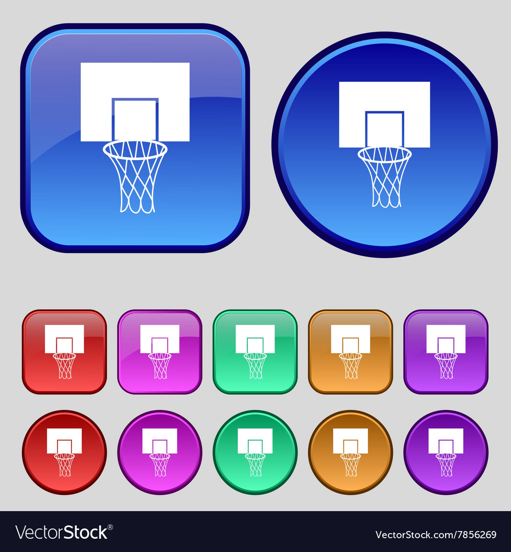 Basketball backboard icon sign A set of twelve vector image