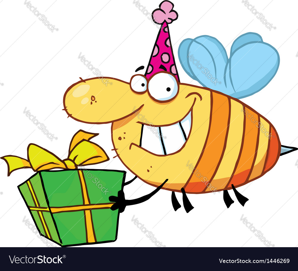 Birthday Bee Wearing A Party Hat And Flying