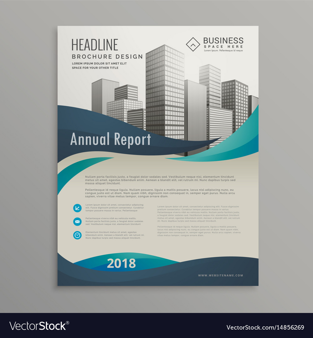 brochure design template with blue wavy shapes in vector image