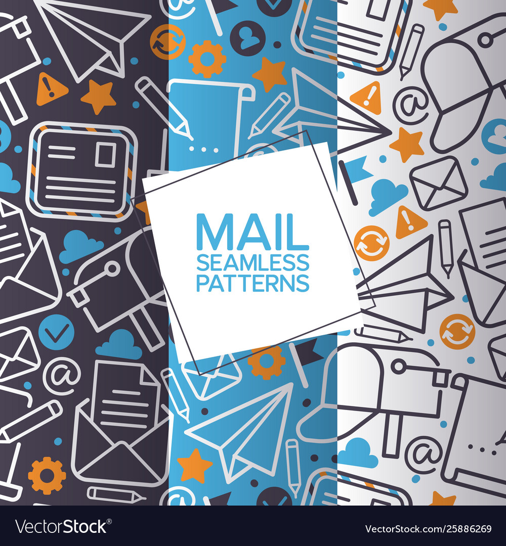 Email icons set seamless patterns mail