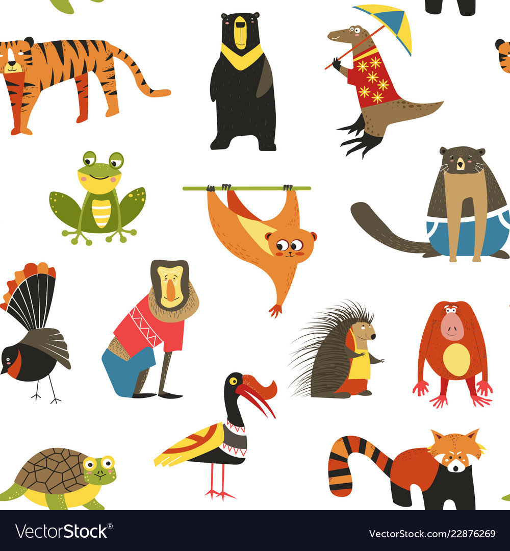 Exotic animals variety seamless pattern isolated