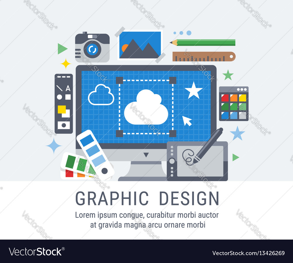 Graphic design flat for web