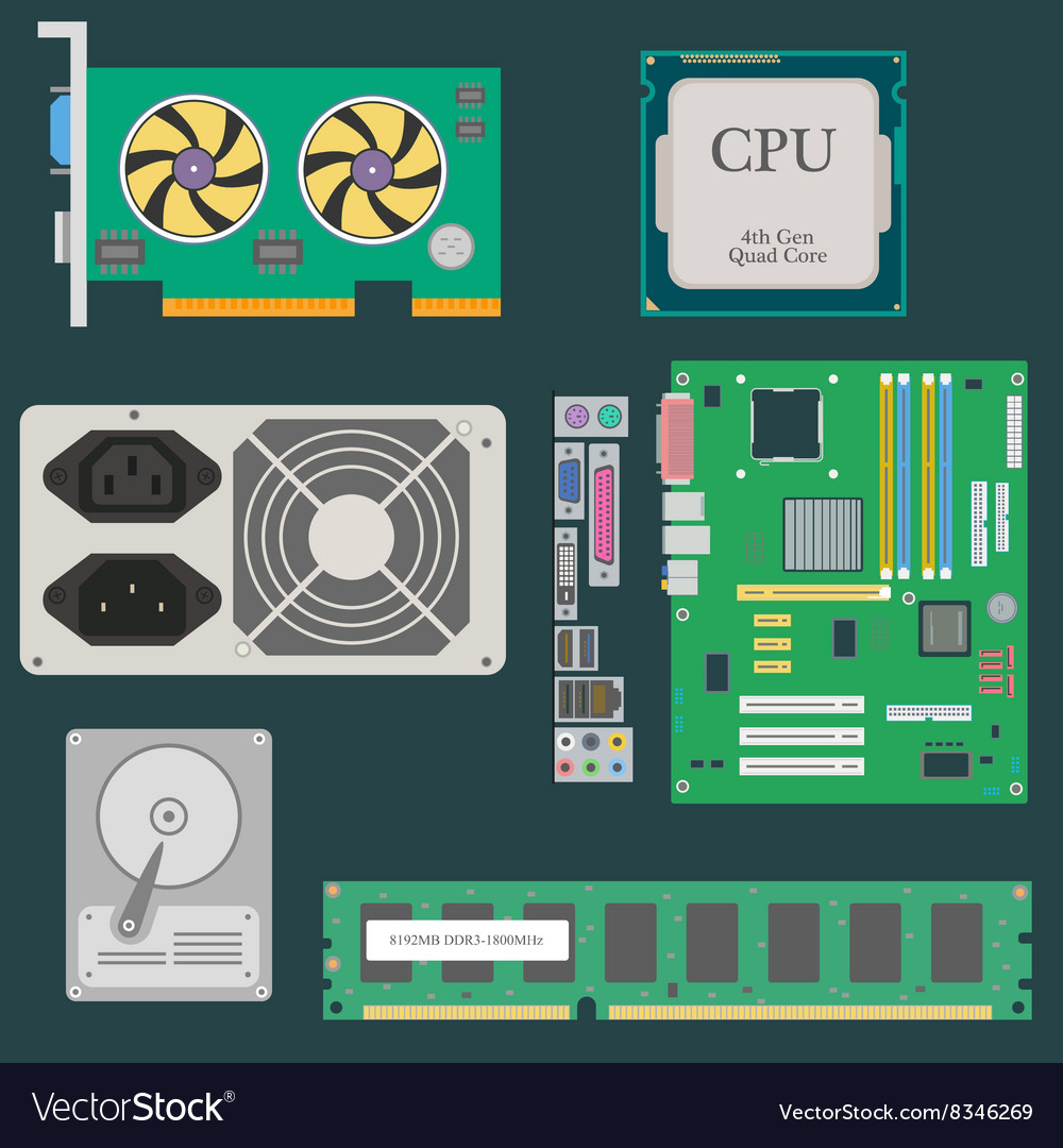 Parts of Computer vector image