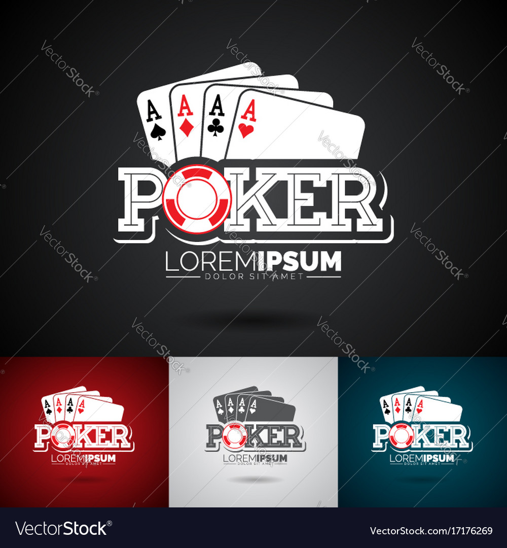 Poker logo design template with gambling elements
