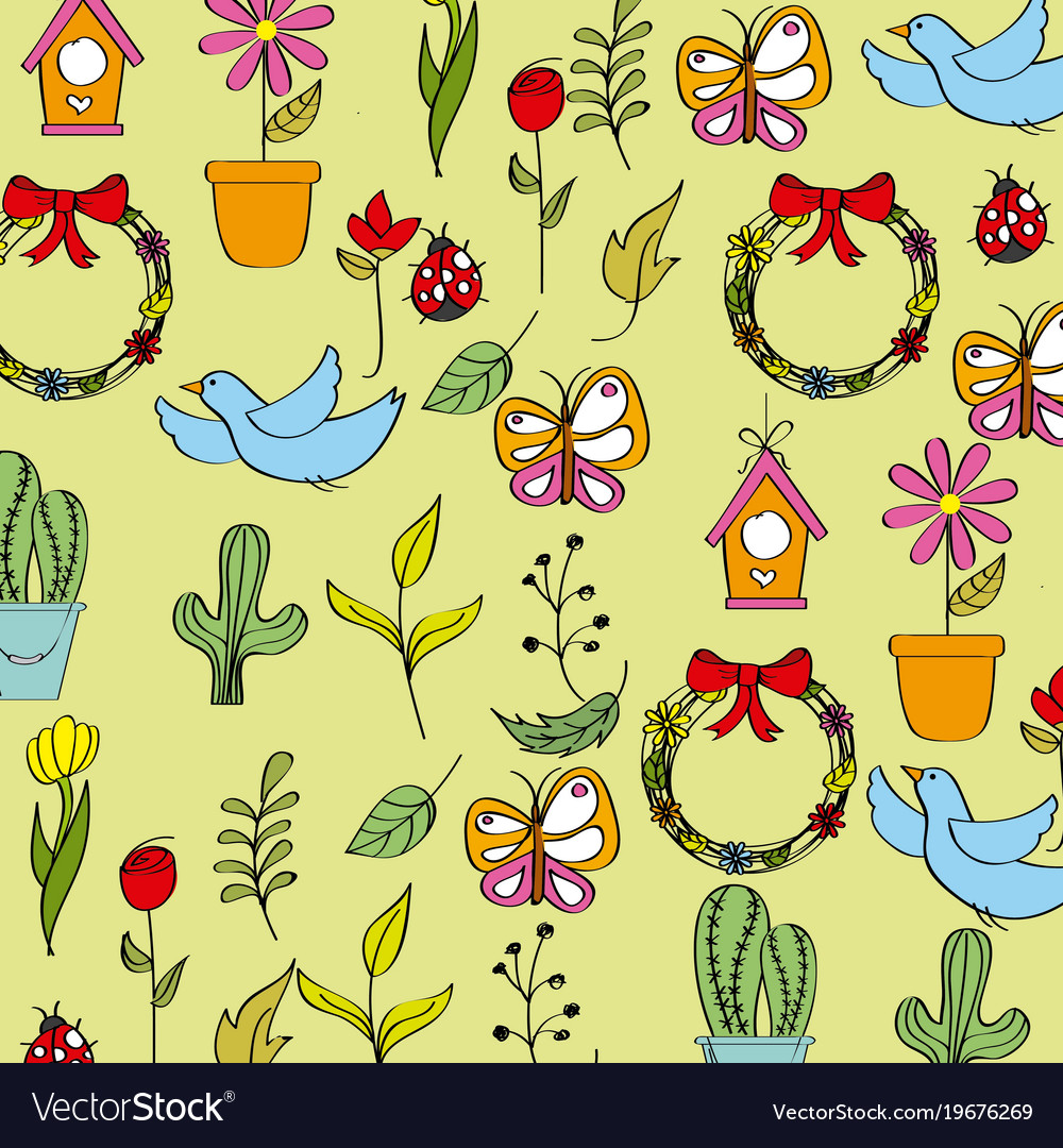 Seamless Pattern Spring Season Icons Decoration Vector Image