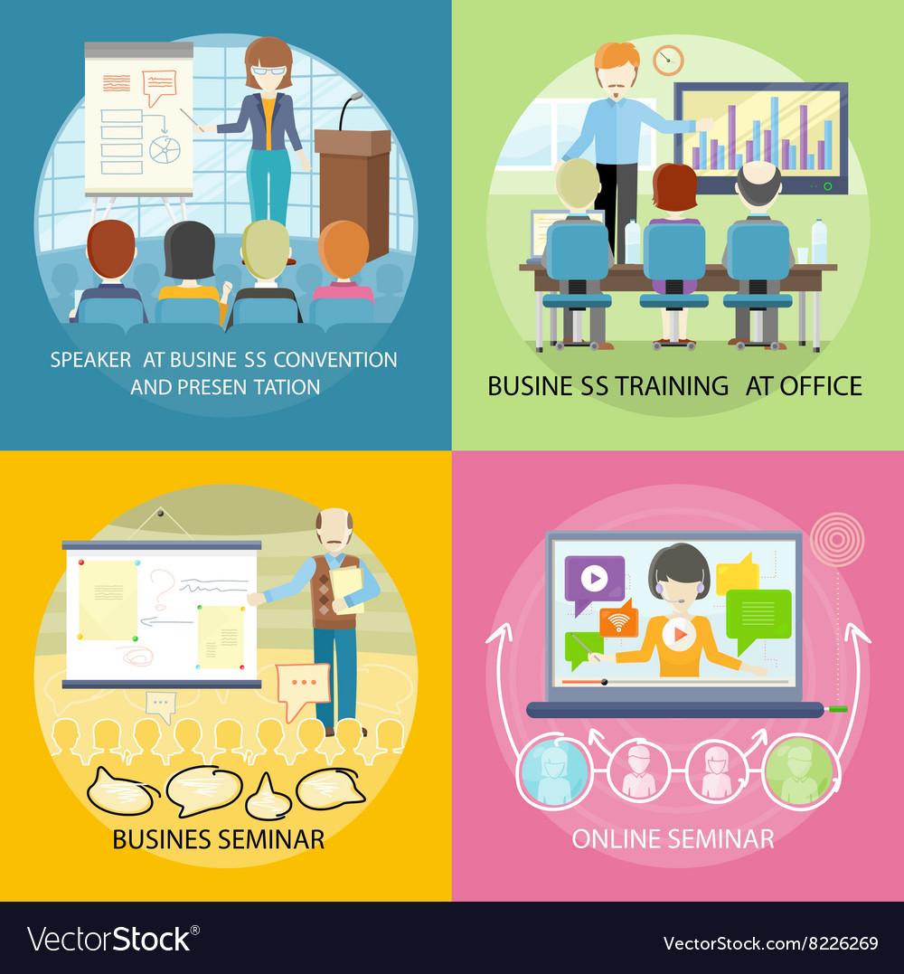 Set of Banner Seminar Training Business