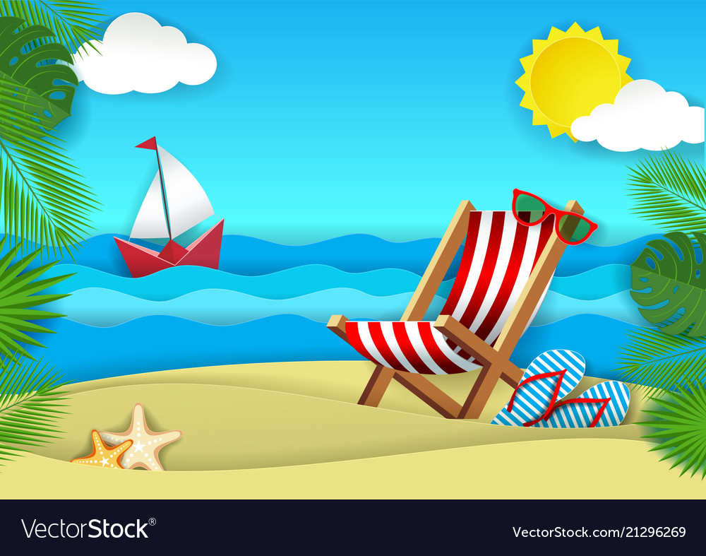 Summer beach paper cut
