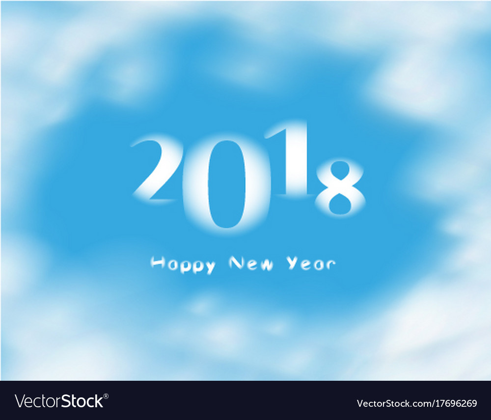 Word happy new year 20178 on blue sky with clouds