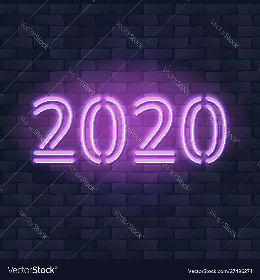 2020 new year concept with colorful neon lights
