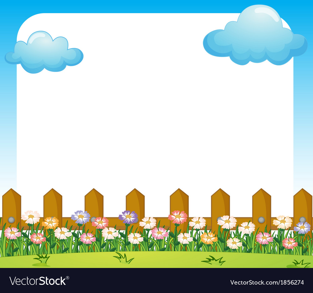 an empty paper template with a garden and clouds vector image